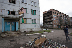 Buildings damaged by shelling and the fierce battles fought in Debaltsevo during February.