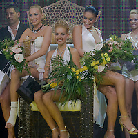 Reka Urban (center), Edina Kulcsar (right) and Alexandra Horvath (left) are the three winners of Miss Plastic Hungary 2009 beauty contest for beauties with surgically enhanced bodies, Budapest, Hungary. Saturday, 10. October 2009. ATTILA VOLGYI