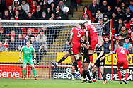 Barnsley goalkeeper Jake Greatorex (35) gets in a header at the far post during the EFL Sky Bet League 1 match between Walsall and Barnsley at the Banks's Stadium, Walsall, England on 23 March 2019.