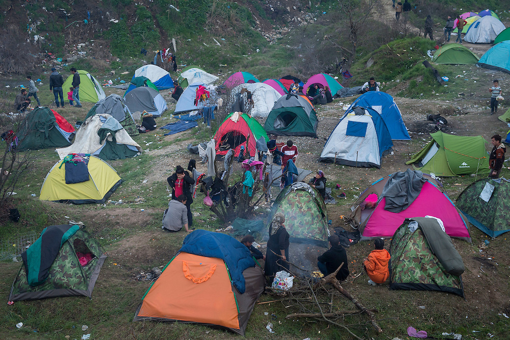 March 5, 2016 - Idomeni, Greece:  make shift refugee camp at the  Idomeni border crossing in Greece. 13,000 refugees are stuck here after Macedonia closed the border. New arrivals come in every day, making living conditions more and more difficult. (Steven Wassenaar/Polaris)