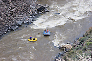 High view of two rafts on the Rio Grande River
