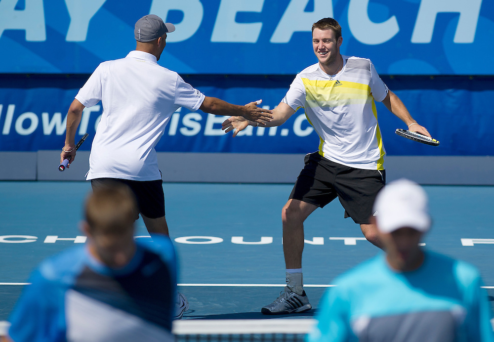 James Blake (USA) (Left) celebrates a point with his partner  during their victory over Max Mirnyi (BLR) and Horia Tecau (ROU) in the Final match today - James Blake (USA) and Jack Sock (USA) def Max Mirnyi (BLR) and Horia Tecau (ROU) 6-4 6-4..ATP 250 Tennis - 2012 Delray Beach International Tennis Championships - Day 7 -  Sunday 3rd March 2013 - Delray Beach Stadium & Tennis Center - Delray Beach - Florida - USA..© CameraSport - 43 Linden Ave. Countesthorpe. Leicester. England. LE8 5PG - Tel: +44 (0) 116 277 4147 - admin@camerasport.com - www.camerasport.com