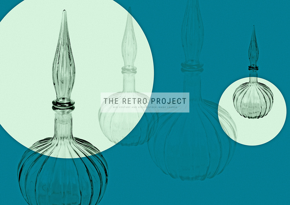 Vintage monochrome Genie Bottles on retro green geometric design with circles