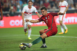 October 10, 2017 - Lisbon, Portugal - Portugal's forward Andre Silva shoots to score during the 2018 FIFA World Cup qualifying football match between Portugal and Switzerland at the Luz stadium in Lisbon, Portugal on October 10, 2017. Photo: Pedro Fiuza  (Credit Image: © Pedro Fiuza/NurPhoto via ZUMA Press)