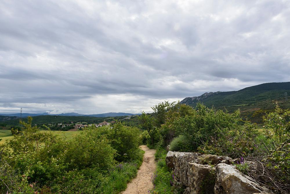 A footpath on the Camino de Santiago nears the town of Villamayor de Monjardin, Navarre, Spain.