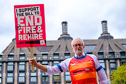 © Licensed to London News Pictures. 22/10/2021 London, UK. Jeremy Corbyn at Parliament after the vote on fire and rehire, New Palace Yard, Westminster.  Photo credit: Jess Hurd/LNP
