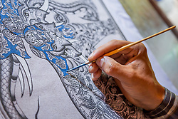 Asia, Myanmar, Bagan, hand painting Buddhist  art