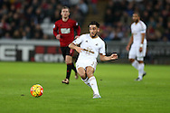 Neil Taylor of Swansea city in action. Barclays Premier league match, Swansea city v West Bromwich Albion at the Liberty Stadium in Swansea, South Wales  on Boxing Day Saturday 26th December 2015.<br /> pic by  Andrew Orchard, Andrew Orchard sports photography.
