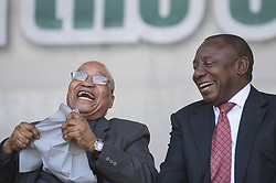 SOWETO, SOUTH AFRICA - JUNE 16: South African President Jacob Zuma and Deputy President of South Africa Cyril Ramaphosa laugh during the ceremony, commemorating the 40th anniversary of the Youth Day at Hector Pieterson Memorial in Soweto, South Africa on June 16, 2016. Youth Day on 16 June is a public holiday in South Africa and commemorates a protest which resulted in a wave of protests across the country known as the Soweto uprising of 1976. Ihsaan Haffejee / Anadolu Agency  | BRAA20160616_438 Soweto Afrique du Sud South Africa