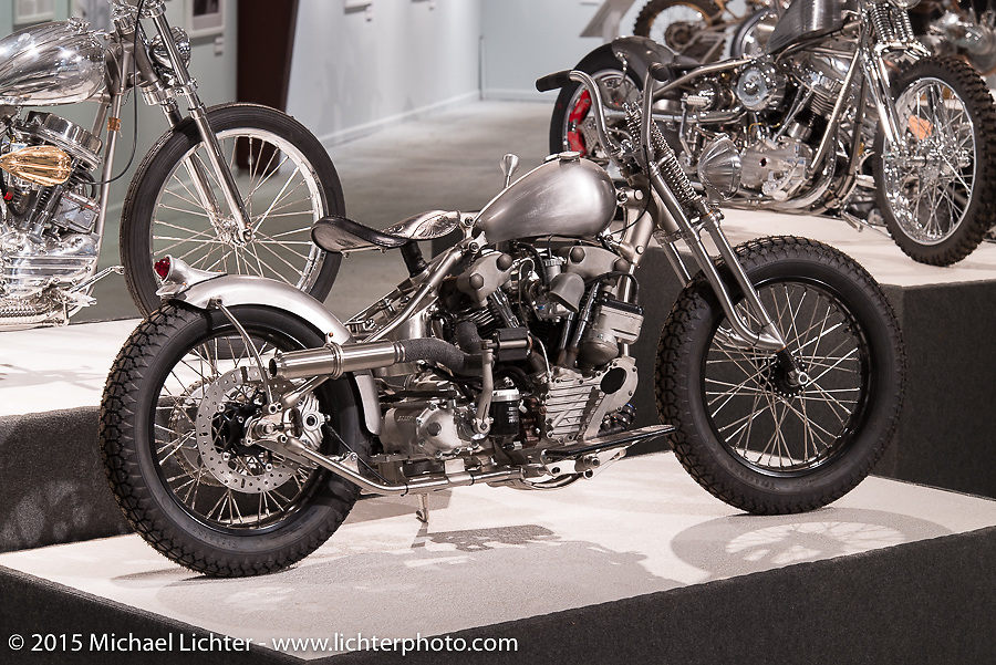 """Nate Jacobs' raw HD knucklehead custom in Michael Lichter's annual Motorcycles as Art Show """"Naked Truth"""" at the Buffalo Chip during the 75th Annual Sturgis Black Hills Motorcycle Rally.  SD, USA.  August 6, 2015.  Photography ©2015 Michael Lichter."""