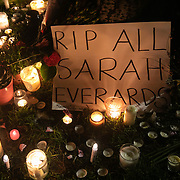 Hundreds of people gathered at a peaceful vigil for Sarah Everard on Clapham Common in South London on the 13th of March 2021, London, United Kingdom. Sarah Everard went missing on 3 March after setting off at 9pm from a friend's house to make her two-and-a-half-mile journey home and was days later found murdered. Candles and flowers for all the Sarah Everards in the world. People had turned out to pay respect and love and mourn Sarah Everard as well as all the women and girls who on a daily basis are hurt by men. It was an event full of sadness and reflection and anger but peaceful. The vigil was not sanctioned by police because of Covid restrictions and the police decided to arrest a number of people in an attempt to break up the peaceful and highly emotional vigil. The event took place around the band stand on the common and speeches were held from the stand till police confiscated the sound equipment. The police have since been highly criticized for their handling of the event.