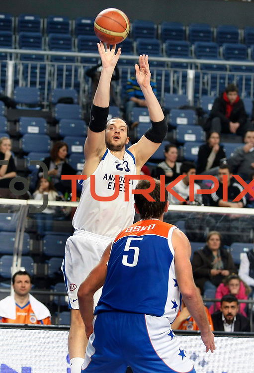 Anadolu Efes's Ermal Kurtoglu (B) during their Turkish Basketball League match Anadolu Efes between Mersin BSB at Sinan Erdem Arena in Istanbul, Turkey, Saturday, January 14, 2012. Photo by TURKPIX