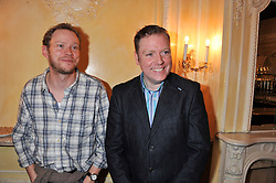 Left to right, ROBERT WEBB and RUFUS HOUND at an after show party following the cast change from 'One Man, Two Guvnors' held at the Theatre Royal Haymarket, London on 12th February 2013.