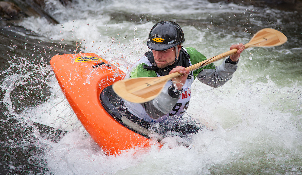 Freestyle kayakers show their stuff in competition at the Whitewater Park during the FibArk river festival.