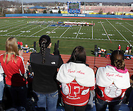 Middletown, New York - Fort Ann fans cheer as the teams take the field for introductions before the Class D state championship boys' soccer game at Faller Field in Middletown on Sunday, Nov. 18, 2012.