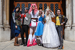 © Licensed to London News Pictures. 08/04/2017. London, UK. Kitty Powers (C) joins participants taking part in the inaugural Games Character Parade, walking from Guildhall to Paternoster Square.  The event formed part of the London Games Festival welcoming cosplayers, wearing costumes inspired by videogame characters, to the UK's biggest parade of cosplayers.   Photo credit : Stephen Chung/LNP
