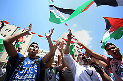 May 4, 2017 - Nablus, West Bank - Palestinian students take part in a protest to show solidarity with Palestinian prisoners on hunger strike in Israeli jails, in the West Bank city of Nablus. (Credit Image: © Ayman Ameen/APA Images via ZUMA Wire)