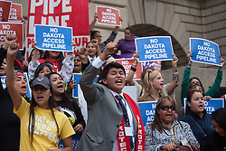 Sep 27, 2016 - Washington, District of Columbia, U.S. - Native American Tribal leaders during a press conference after a meeting with President Obama at the Tribal Nations Conference. The last minute press conference was called to discuss the controversial Dakota pipeline issue. (Credit Image: © Eman Mohammed via ZUMA Wire)