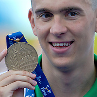 Laszlo Cseh (HUN) celebrates his third place in 400 m Men's Individual Medley Swimming competition during the 13th FINA Swimming World Championships held in Rome, Italy. Sunday, 02. August 2009. ATTILA VOLGYI