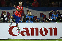 BILDET INNGÅR IKKE I FASTAVTALENE PÅ NETT<br /> <br /> Fotball<br /> Copa America<br /> Chile v Ecuador<br /> Foto: imago/Digitalsport<br /> NORWAY ONLY<br /> <br /> SANTIAGO, June 11, 2015 -- Eduardo Vargas of Chile celebrates scoring during the opening match of the Copa America 2015 against Ecuador, in Santiago, capital of Chile, on June 11, 2015. Chile won 1-0
