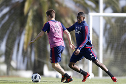 (L-R), Carel Eiting of Ajax, Mateo Cassierra Ajax during a training session of Ajax Amsterdam at the Cascada Resort on January 10, 2018 in Lagos, Portugal