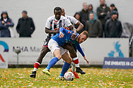 Tom Naylor of Portsmouth under pressure during the The FA Cup 1st round match between Maidenhead United and Portsmouth at York Road, Maidenhead, United Kingdom on 10 November 2018.