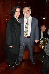 FRANCIS FORD COPPOLA and BIANCA JAGGER at a dinner hosted by Liberatum to honour Francis Ford Coppola held at the Bulgari Hotel & Residences, 171 Knightsbridge, London on 17th November 2014.