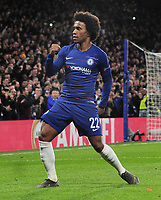 Football - 2018 / 2019 UEFA Europa League - Round of Sixteen, First Leg: Chelsea vs. Dynamo Kiev<br /> <br /> Willian of Chelsea celebrates scoring goal no 2 from a free kick, at Stamford Bridge.<br /> <br /> COLORSPORT/ANDREW COWIE