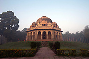 Muhammad Shah Sayyids Tomb, Lodi Gardens, New Delhi, India. The site is now protected by the Archeological Survey of India. The gardens are a hotspot for morning walks for the Delhiites.