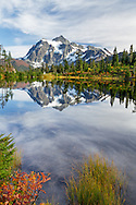 Iconic view of Mount Shuksan reflected in Picture Lake during the fall - Mount Baker-Snoqualmie National Forest, Washington State, USA