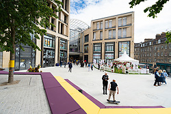 Edinburgh, Scotland, UK. 24 June 2021. First images of the new St James Quarter which opened this morning in Edinburgh. The large retail and residential complex replaced the St James Centre which occupied the site for many years. Pic; Exterior of entrance to mall onto Leith Street. Iain Masterton/Alamy Live News