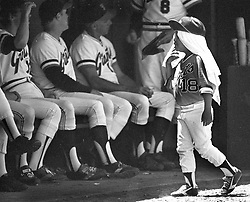 San Francisco Giants batboy with head towel to try to beat the heat....extreme heat spell during the Giants game at Candlestick Park..(1979 photo/Ron Riesterer)