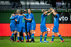 Players of Slovenia celebrating their second goal during football match between Slovenia and Nederland in qualifying Round of Woman's qualifying for EURO 2021, on October 5, 2019 in Mestni stadion Fazanerija, Murska Sobota, Slovenia. Photo by Blaž Weindorfer / Sportida