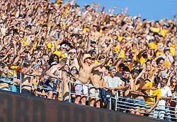 Sep 11, 2021; Morgantown, West Virginia, USA; West Virginia Mountaineers students cheer from the upper deck during the first quarter against the Long Island Sharks at Mountaineer Field at Milan Puskar Stadium. Mandatory Credit: Ben Queen-USA TODAY Sports