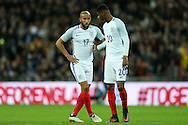 Marcus Rashford of England (r)  talks to Andros Townsend of England. England v Spain, Football international friendly at Wembley Stadium in London on Tuesday 15th November 2016.<br /> pic by John Patrick Fletcher, Andrew Orchard sports photography.