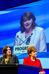 Pictured: Susan Aitken and Nicola Sturgeon<br /> The members of the SNP gathered in the Scottish Events Centre in Glasgow for their annual conference.<br /> <br /> The Ger Harley   EEm 9 October 2017