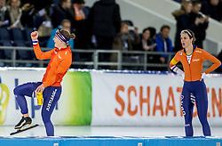 10-12-2016 NED: ISU World Cup Speed Skating, Heerenveen<br /> 1500 m women / Marrit Leenstra belandde met een tijd van 1.56,30 op de vierde plek en Ireen Wust viert haar feestje.