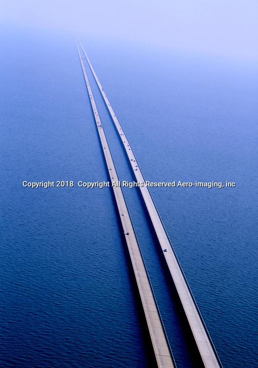 Aerial of Highway 10 Bridge over Lake Pontratrain Bridge outside New Orleans, La