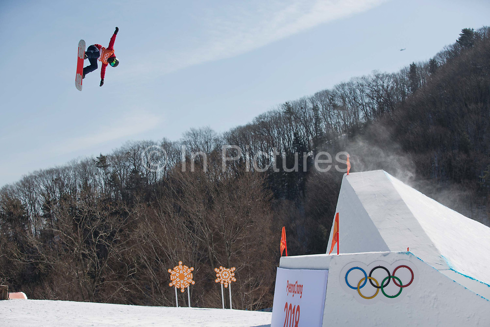 Rowan Coultas, Great Britain, during the snowboard slopestyle practice on the 7th February 2018 at Phoenix Snow Park for the Pyeongchang 2018 Winter Olympics in South Korea