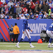 New York Giants quarterback Eli Manning, leaves the field after his third pass interception during the New York Giants V San Francisco 49ers, NFL American Football match at MetLife Stadium, East Rutherford, NJ, USA. 16th November 2014. Photo Tim Clayton