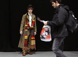 © Licenced to London News Pictures. 21/11/2013. London. UK.  <br /> Fans of BBC drama Doctor Who are pictured getting into character at a Dr Who 50th anniversary celebration convention at the ExCel centre in London, November 21st 2013.<br /> Photo Credit: Susannah Ireland