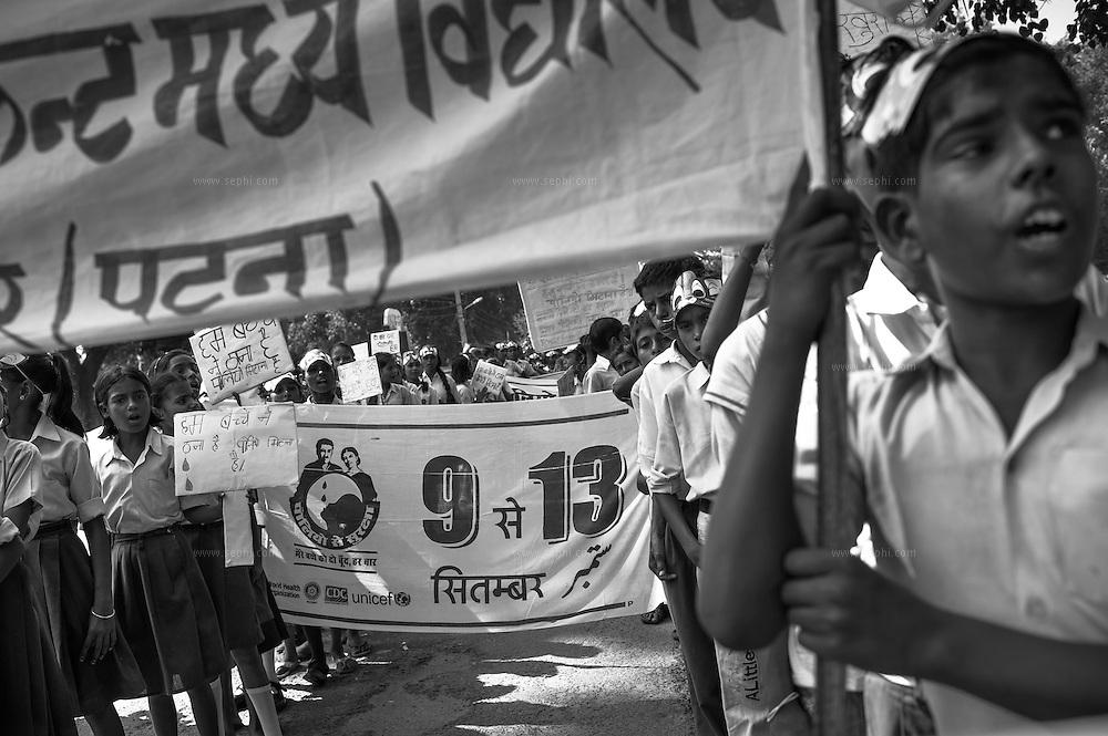 Block-level school children rally in Danapur, one of the 41 HR (High risk) blocks in Bihar.