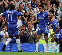 Chelsea FC vs Tottenham Hotspur FC Premiership 20/09/09<br /> Photo Nicky Hayes Fotosports International<br /> Michael Ballack goal celebration with Drogba and Anelka.