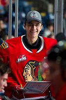 KELOWNA, BC - FEBRUARY 7: Dante Giannuzzi #31 of the Portland Winterhawks stands on the bench against the Kelowna Rockets at Prospera Place on February 7, 2020 in Kelowna, Canada. (Photo by Marissa Baecker/Shoot the Breeze)