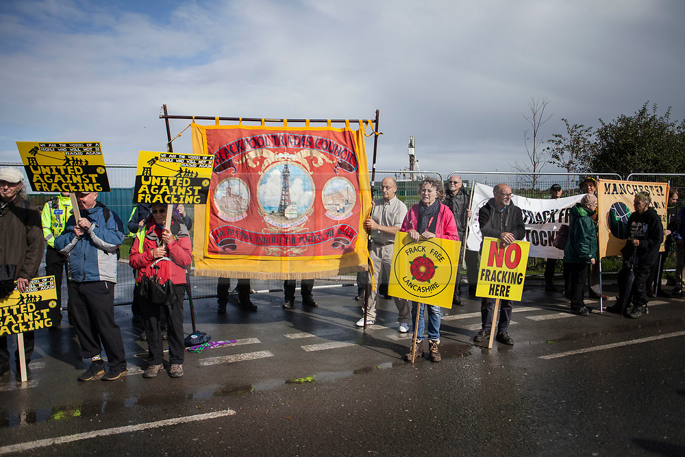 © Licensed to London News Pictures. 29/09/2017. Lancashire, UK.  Members of Blackpool Trades Council protest against fracking outside Cuadrillas Hydraulic Fracturing site on Preston New Road, Lancashire. Over 100 protesters from all over the UK joined the on going anti-fracking protest on Preston New Road in Lancashire ahead of the Conservative Party Conference in Manchester. Photo credit: Steven Speed/LNP
