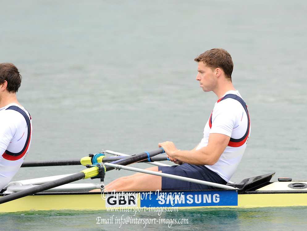 Munich, GERMANY, GBR M4X, Bow. Tom SOLESBURY. Time Trial. Men's Quadruple Sculls. 2011 FISA World Cup. 1st Rd. Munich Olympic Rowing Course, Friday  27/05/2011. [Mandatory Credit Peter Spurrier/ Intersport Images]