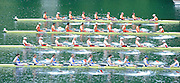 Lucerne, SWITZERLAND. GBR M8+  Start of the Men's eights heat top to bottom, FRA M8+, CAN M8+CHN M8+, NED M8+, move away from the start, at the 2008 FISA World Cup Regatta, Round 2.  Lake Rotsee, on Thursday,  30/05/2008.  [Mandatory Credit:  Peter Spurrier/Intersport Images].Lucerne International Regatta. Rowing Course, Lake Rottsee, Lucerne, SWITZERLAND.