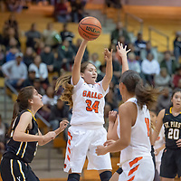 Jordan Joe (34) sends a no look pass to Hannah Toldeo (13) near the three point area in Gallup on Wednesday. St. Pius won 53-43.