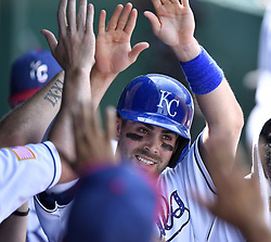 July 2, 2017 - Kansas City, MO, USA - Kansas City Royals' Whit Merrifield is greeted in the dugout after scoring on a double by Eric Hosmer in the third inning against the Minnesota Twins on Sunday, July 2, 2017 at Kauffman Stadium in Kansas City, Mo. (Credit Image: © John Sleezer/TNS via ZUMA Wire)