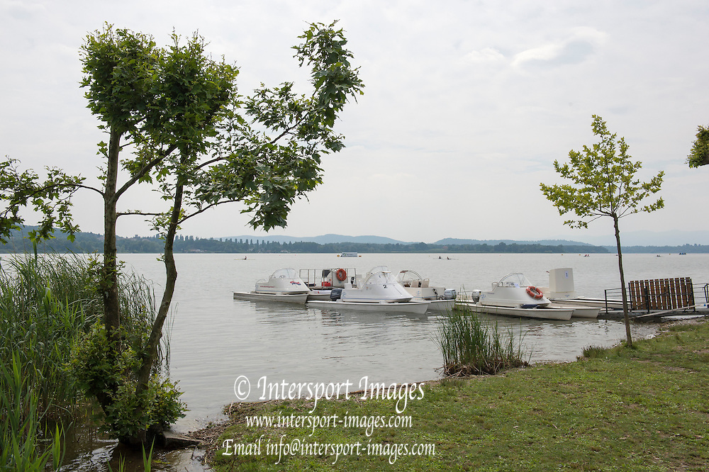 Varese. ITALY.  General View Umpire boats moored.   2015 FISA World Cup II Venue Lake Varese. Thursday  18/06/2015 [Mandatory Credit: Peter Spurrier/Intersport images]